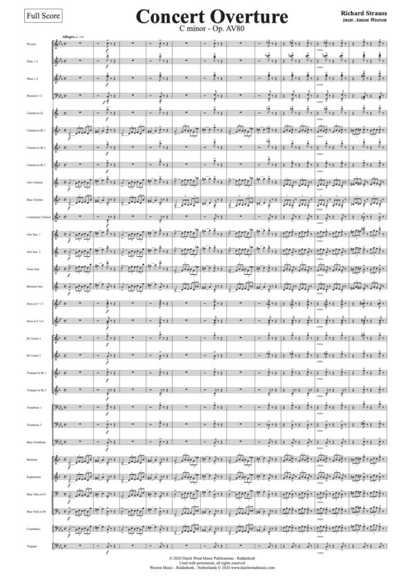 Concert Overture - Richard Strauss - arr. harmonieorkest Anton Weeren