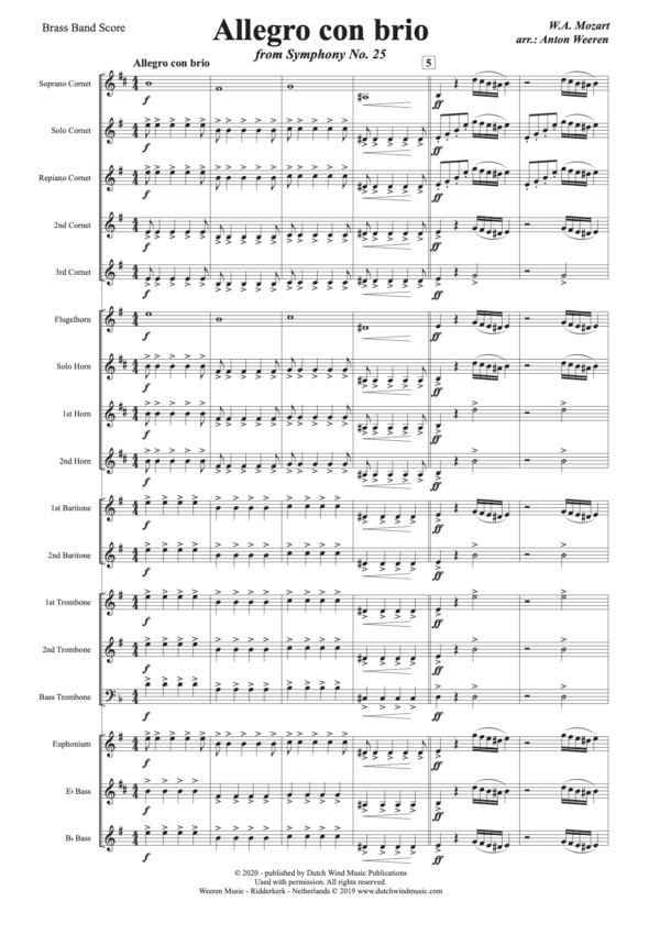 Allegro con Brio uit 25ste Symfonie van W.A. Mozart - arr. Anton Weeren